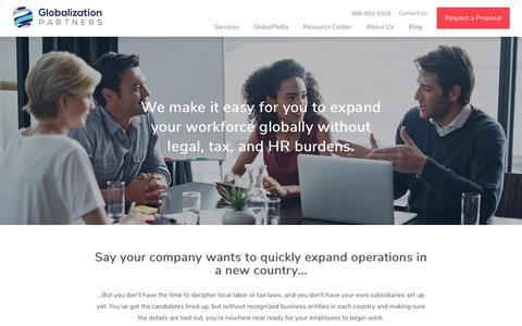 Screenshot of Services Page globalization-partners.com - Services | Globalization Partners - captured Sept. 7, 2017