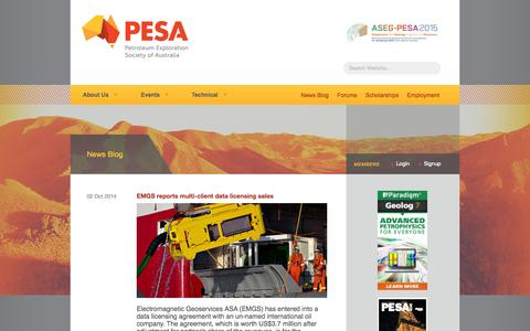 Screenshot of Press Page pesa.com.au - PESA - The Petroleum Exploration Society of Australia - captured Oct. 2, 2014