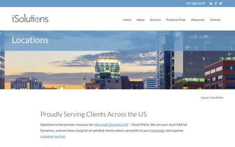 Screenshot of Locations Page isolutionspartners.com - iSolutions Partners - Microsoft Dynamics Great Plains Expert - captured Sept. 20, 2018