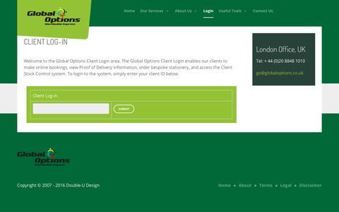 Screenshot of Login Page globaloptions.co.uk - Login - captured Nov. 8, 2016