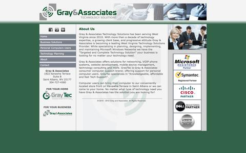 Screenshot of About Page graytecsolutions.com - Gray and Associates Technology Solutions - captured Sept. 11, 2017
