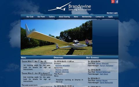 Screenshot of Home Page brandywinesoaring.org - Brandywine Soaring Assocation - captured June 2, 2016