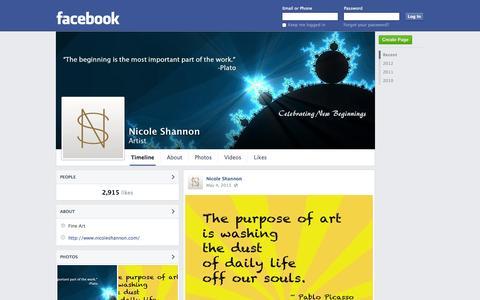 Screenshot of Facebook Page facebook.com - Nicole Shannon - Artist | Facebook - captured Oct. 26, 2014