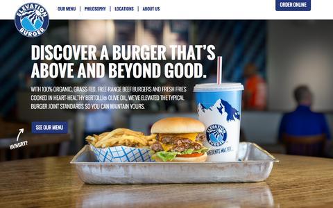 Screenshot of Home Page elevationburger.com - Home - Elevation Burger      Elevation Burger - captured Jan. 18, 2015