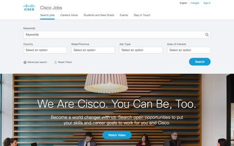 Screenshot of Jobs Page cisco.com - Find Jobs - Cisco Jobs - captured May 13, 2018