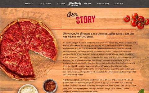 Screenshot of About Page giordanos.com - About Giordano's   History of Giordano's Pizza - captured Nov. 7, 2016