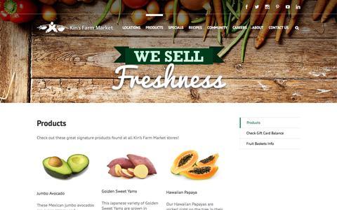 Screenshot of Products Page kinsfarmmarket.com - Specialty Produce Retailer   Kin's Farm Market - captured Aug. 9, 2016