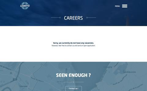 Screenshot of Jobs Page lemsys.com - Careers – Lemsys - captured Oct. 8, 2016