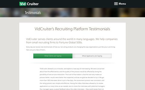 Screenshot of Testimonials Page vidcruiter.com - Recruiting Platform and Online interviews Testimonials - VidCruiter - captured June 13, 2017