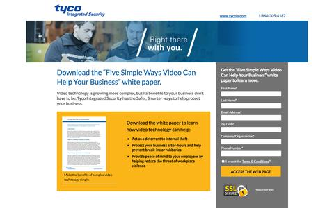 Screenshot of Landing Page tycois.com - Five Simple Ways Video can Help Your Business White Paper | TycoIS - captured Oct. 27, 2014