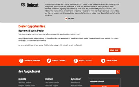 Screenshot of Signup Page bobcat.com - Dealer Oppertunities - Bobcat Company - captured Oct. 4, 2018