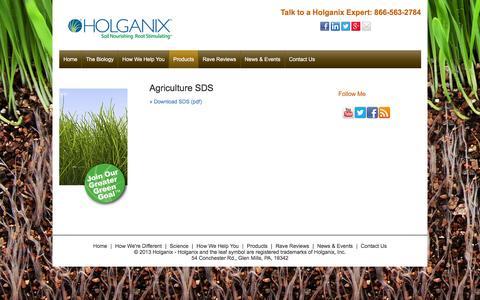 Screenshot of holganix.com - Agriculture SDS - captured March 19, 2016