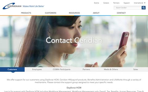 Screenshot of Contact Page Support Page ceridian.com - Contact Ceridian - captured June 16, 2015