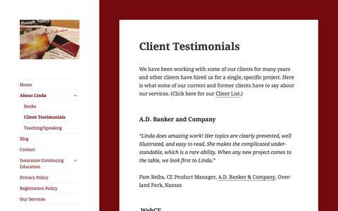 Screenshot of Testimonials Page lindafaulkner.com - Client Testimonials - - captured Oct. 13, 2017