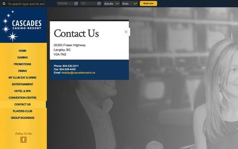 Screenshot of Contact Page cascadescasino.ca - Contact Us | Cascades Casino Langley - captured Nov. 4, 2018
