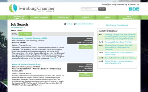 Screenshot of Jobs Page twinsburgchamber.com - Job Search - Twinsburg Chamber of Commerce, OH - captured Feb. 28, 2016