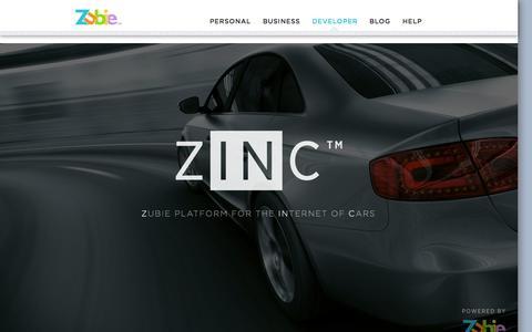 Screenshot of Developers Page zubie.co - ZinC – The Zubie Developer Platform | Zubie - captured Dec. 17, 2014
