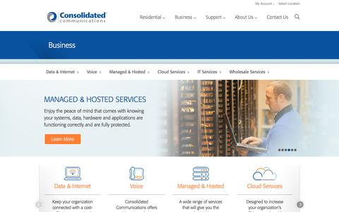 Screenshot of consolidated.com - Data & Internet, Voice, Cloud Services, Managed & Hosted, IT Services, Wholesale Services | Consolidated Communications - captured Jan. 28, 2017