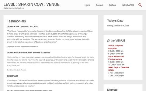 Screenshot of Testimonials Page digital-youth.co.uk - Testimonials | LEV3L : SHAKIN COW : VENUE - captured Oct. 5, 2014