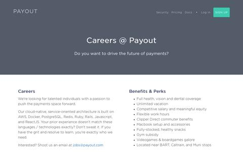Screenshot of Jobs Page payout.com - Payout - Easy, instant payouts. - captured May 1, 2017