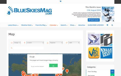 Screenshot of Maps & Directions Page blueskiesmag.com - Map | Blue Skies Magazine - captured Oct. 6, 2018