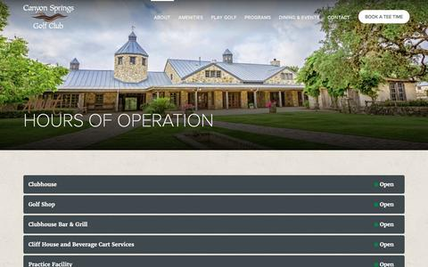 Screenshot of Hours Page canyonspringsgc.com - Hours of Operation | Canyon Springs Golf Club - captured June 13, 2016