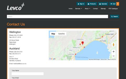 Screenshot of Contact Page levco.co.nz - Levco Agencies Ltd: Contact Us - captured Sept. 28, 2018