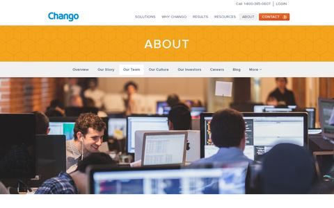 Screenshot of Team Page chango.com - Our Team · Chango - captured July 19, 2014