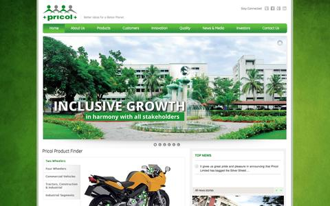 Screenshot of Home Page pricol.com - Pricol | Automotive Products, Automobile Components, Auto Instruments, Accessories, India - captured Sept. 23, 2014