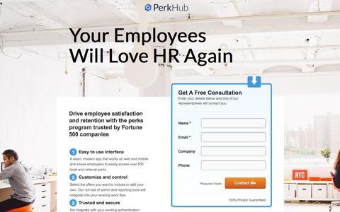 Screenshot of Landing Page perkhub.com - Employee Perks | PerkHub Corporate Perks Programs - captured Oct. 27, 2014