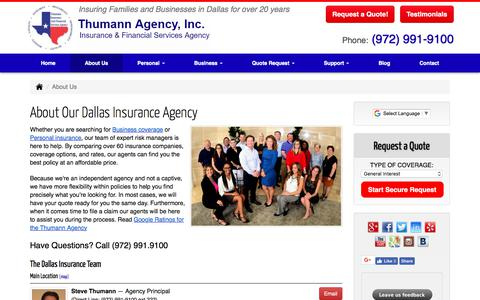 Screenshot of About Page thumannagency.com - Welcome to the Thumann Insurance Agency  in Dallas, Texas. - captured Oct. 9, 2017