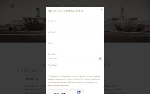 Screenshot of Terms Page cinnamonclub.com - T&C | Cinnamon Club - captured Jan. 18, 2020