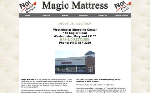 Screenshot of About Page Contact Page Locations Page magicmattress.com - Carroll County MD Mattress Delivery Howard County Maryland | Twin, King, Full, Daybeds, Futons, Head Foot Boards, Latex Pillows, Adjustable Beds Eldersburg, Westminster - captured Dec. 9, 2015