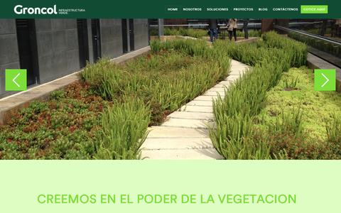 Screenshot of Home Page groncol.com - Techos y Muros Verdes en Colombia - Groncol Infraestructura Verde - captured May 24, 2017