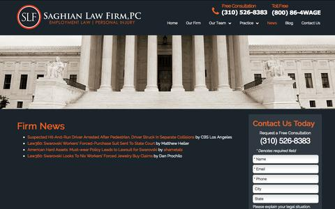 Screenshot of Press Page saghianlaw.com - Firm News - Saghian Law Firm, PC - captured Nov. 2, 2014
