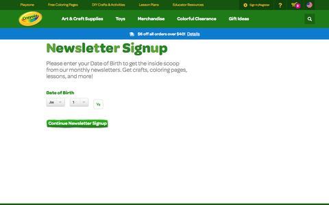 Screenshot of Signup Page crayola.com - Newsletter DOB | crayola.com - captured Sept. 18, 2014