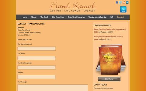 Screenshot of Contact Page frankkamal.com - Contact - FrankKamal.comFrank Kamal - captured March 8, 2016