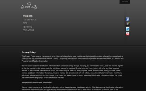 Screenshot of Privacy Page gammalabs.net - Gamma Labs | Privacy Policy - captured Sept. 24, 2014