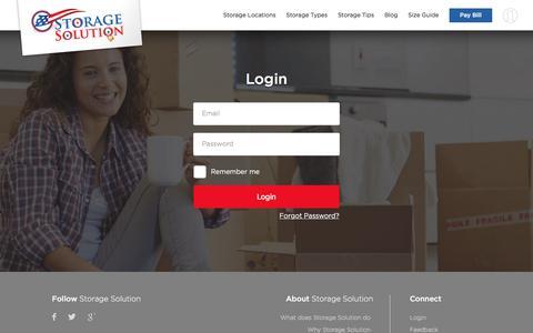 Screenshot of Login Page storagesolution.com - Self Storage Units | Storage Solution - captured Sept. 24, 2017