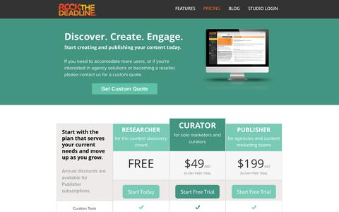 Screenshot of Pricing Page rockthedeadline.com - Pricing and Subscription Levels for Rock the Deadline Studios - captured Oct. 26, 2014