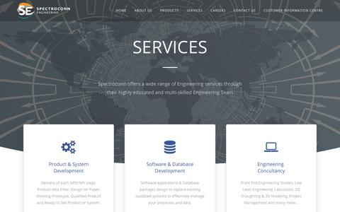 Screenshot of Services Page spectroconn.com - Services – SPECTROCONN - captured July 26, 2018