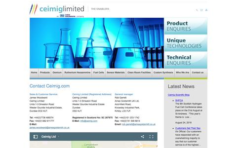 Screenshot of Contact Page ceimig.com - Custom Synthesis, Multi Stage Synthesis, Novel Organometallic in the UK from Ceimig - captured Oct. 28, 2016