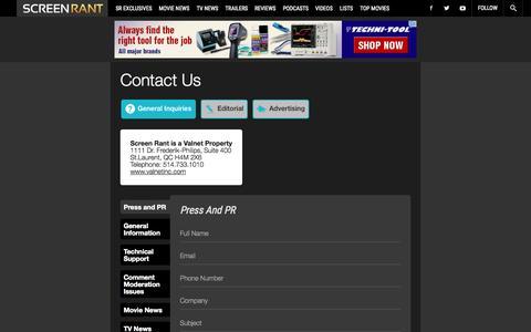 Screenshot of Contact Page screenrant.com - Contact Us - captured Nov. 2, 2015