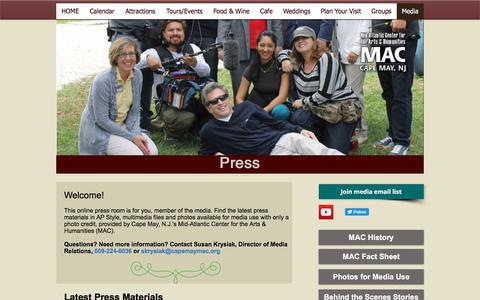 Screenshot of Press Page capemaymac.org - Media|Cape May, NJ|capemaymac.org - captured July 13, 2017