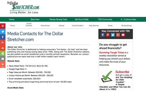 Screenshot of Press Page stretcher.com - The Dollar Stretcher - Media Contact - captured Oct. 12, 2016