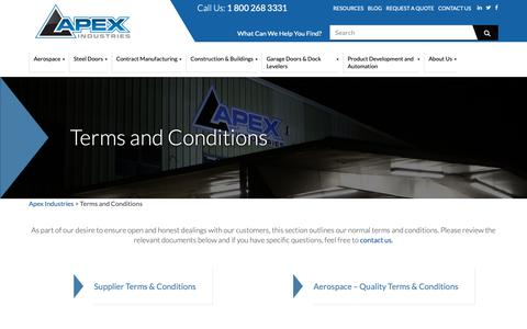 Screenshot of Terms Page apexindustries.com - Terms and Conditions - Apex Industries - captured Oct. 3, 2018