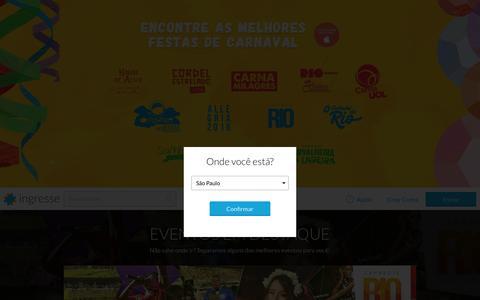 Screenshot of Home Page ingresse.com - Ingresse - Ingressos para shows, festas, baladas, teatro e muito mais! - captured Feb. 10, 2016