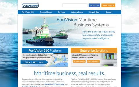 Screenshot of Home Page portvision.com - AIS Ship Tracking, Vessel Tracking, Terminal Management - captured July 25, 2018