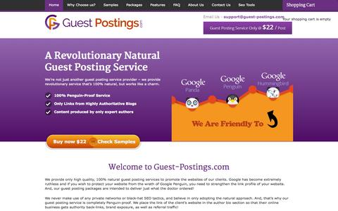Screenshot of Home Page guest-postings.com - Guest Posting Service - Guest Blogging at $22 Per Post Only - captured Sept. 19, 2014