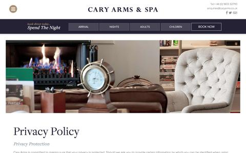 Screenshot of Privacy Page caryarms.co.uk - Privacy Policy | Cary Arms Babbacombe - captured Dec. 13, 2016